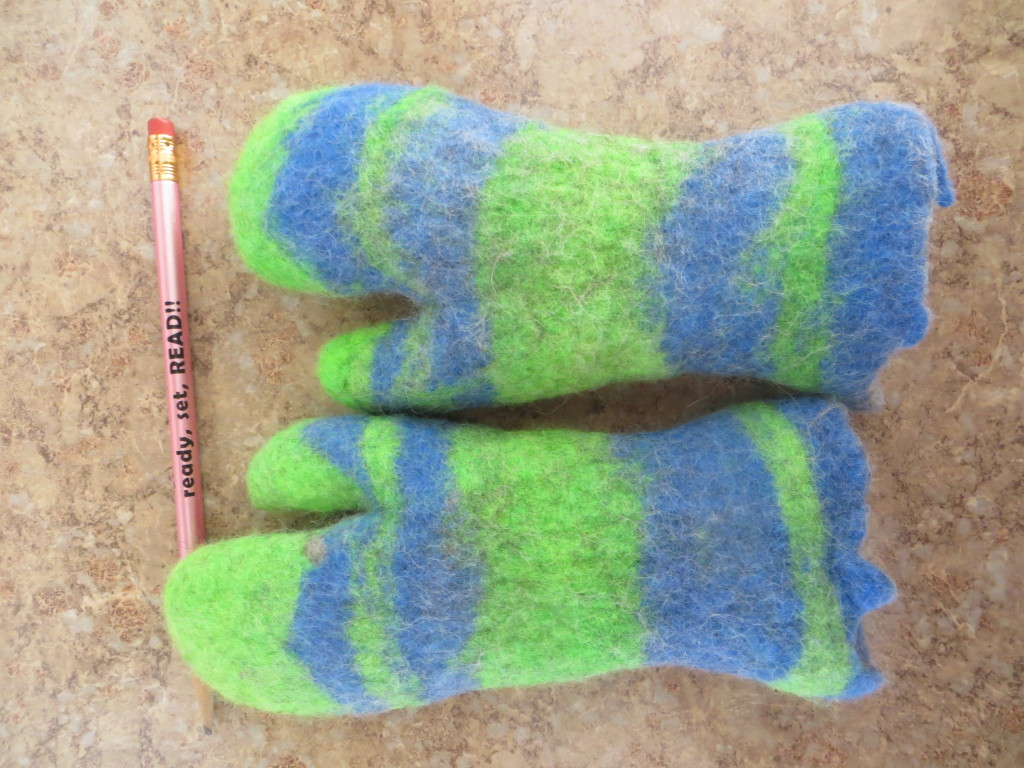 wet felted mittens