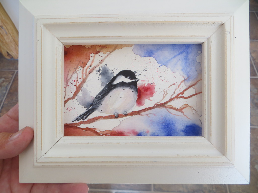 watercolor chickadee